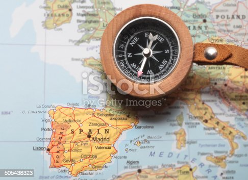 istock Travel destination Spain, map with compass 505438323