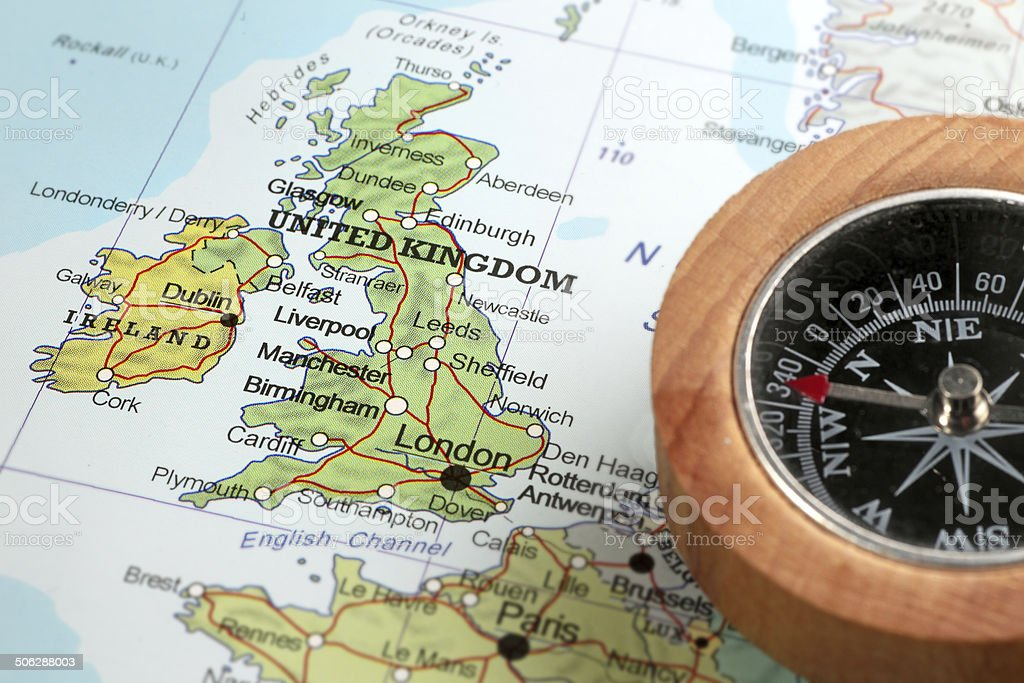 Travel destination United Kingdom and Ireland, map with compass stock photo
