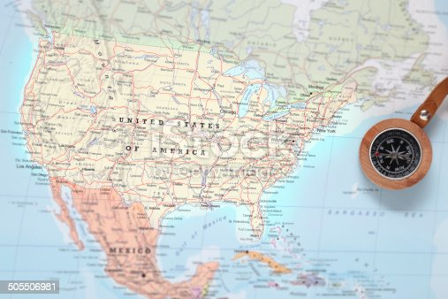 istock Travel destination United States, map with compass 505506981