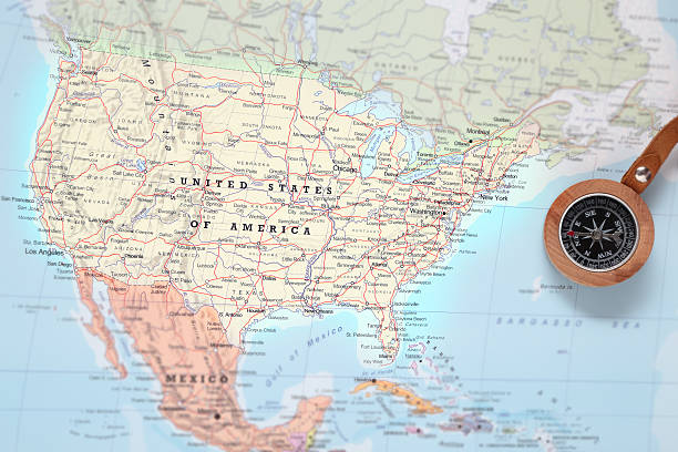 travel destination united states, map with compass - north america stock photos and pictures