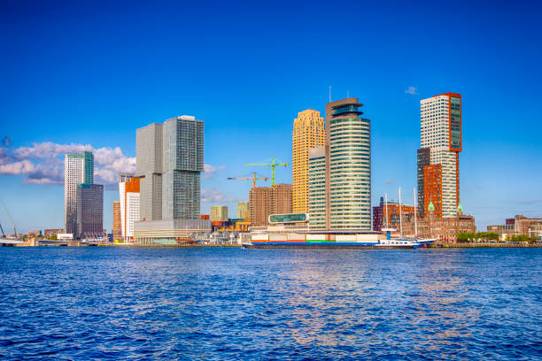 Travel Destinations. Cityscape View of Rotterdam Harbour and Port.Horizontal Image composition