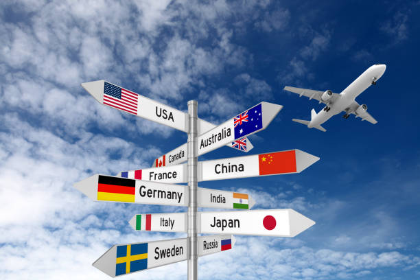 Travel destinations direction sign airplane Travel destinations direction sign airplane global village stock pictures, royalty-free photos & images