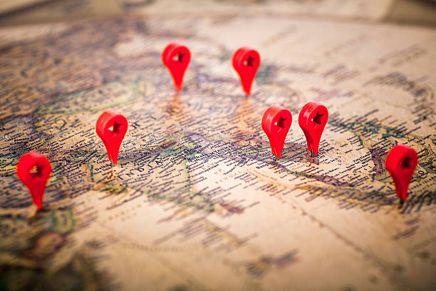 Travel Destinations on a Map stock photo
