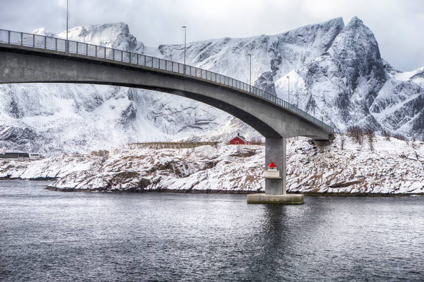 Travel Destinations. View of Long Famous and Renowned Fredvang Bridge in Norway at Lofoten Islands. Horizontal Composition