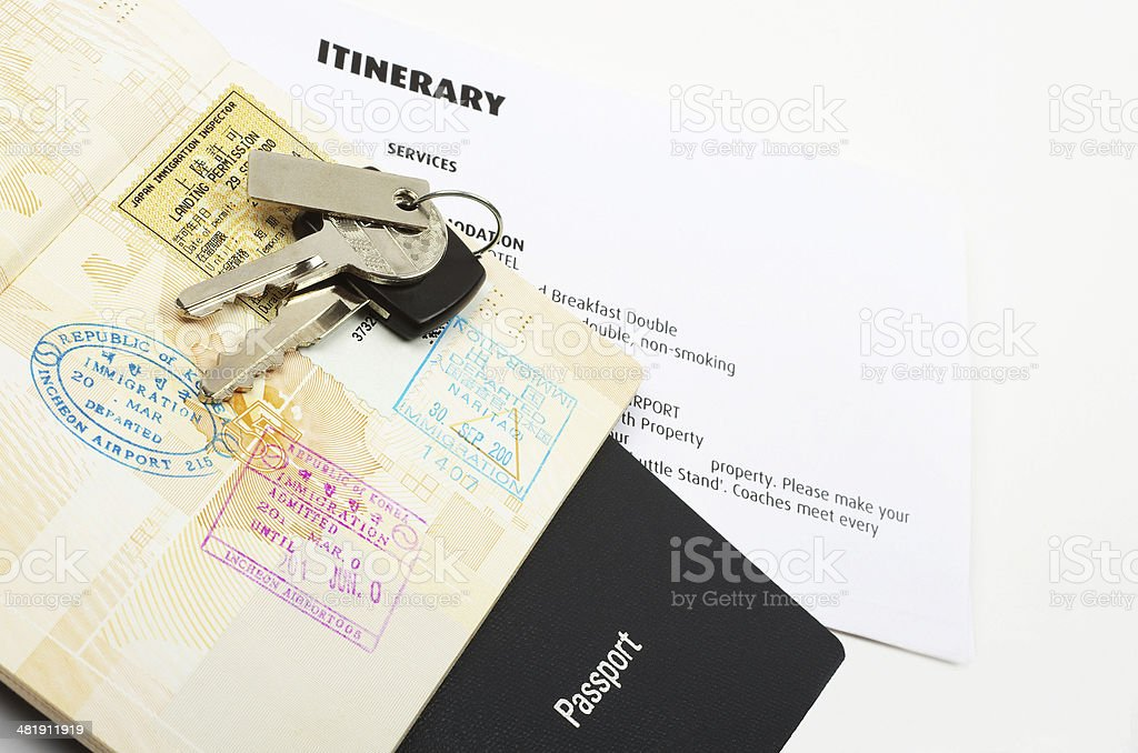 travel documents and keys stock photo