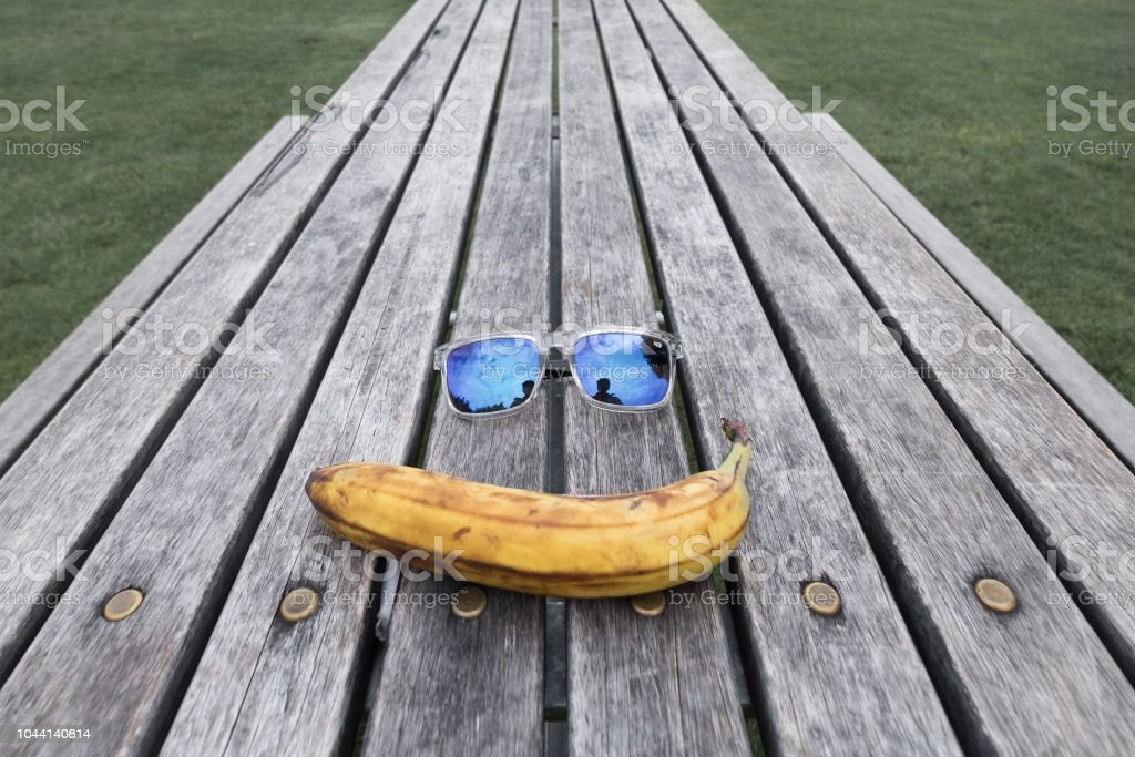 Travel essentials: Food and sunglass stock photo