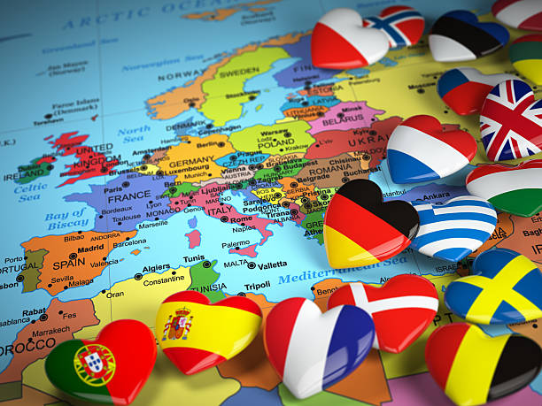 Travel EU concept. Map of Europe and hearts with flags stock photo