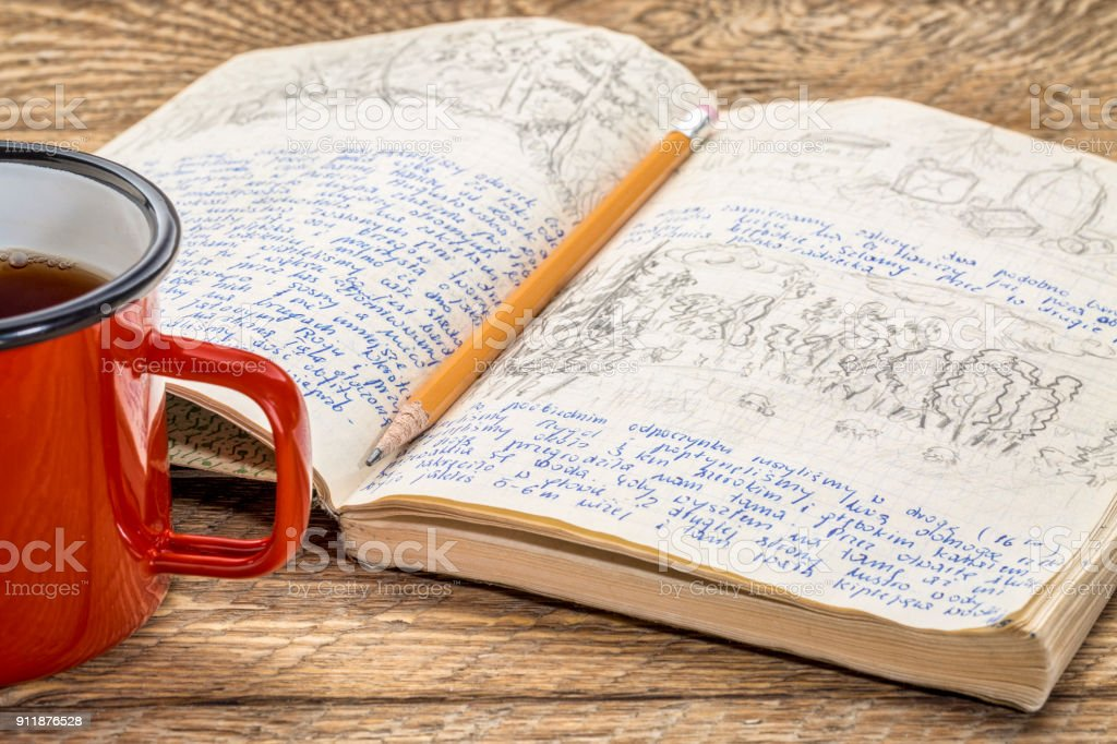 travel expedition journal stock photo