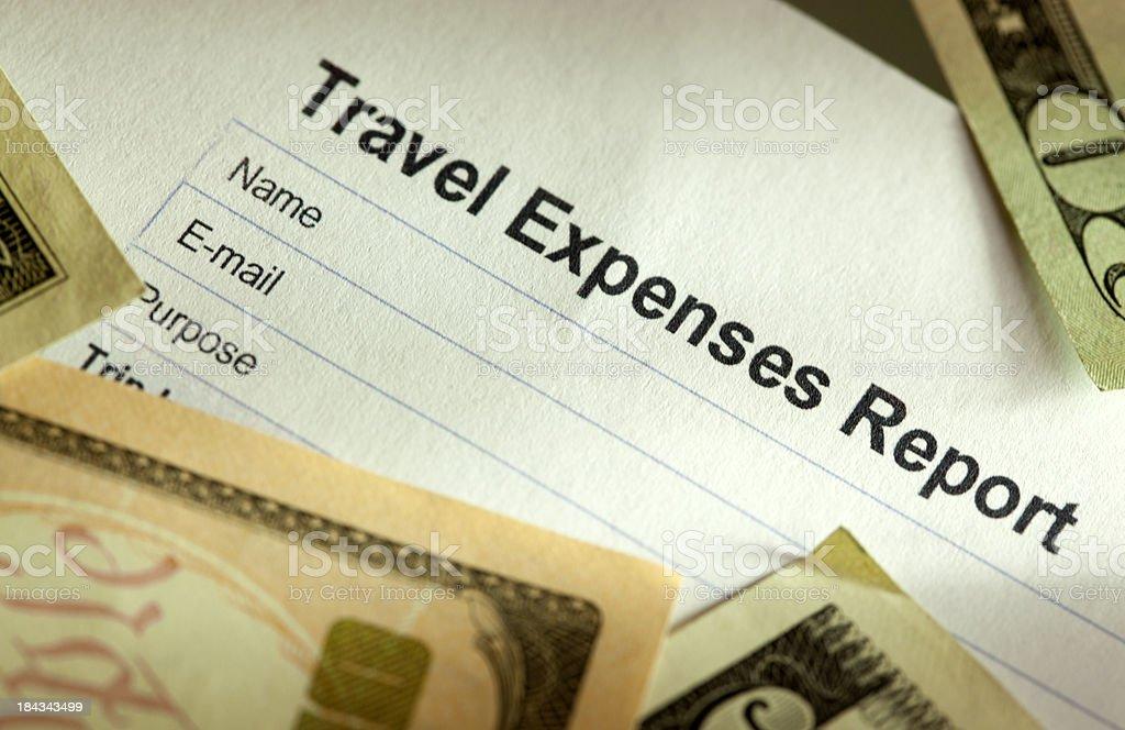 Travel Expense Log sheet stock photo