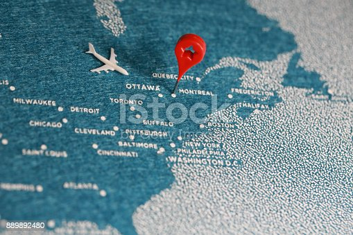 istock travel felt painted map in north america 889892480