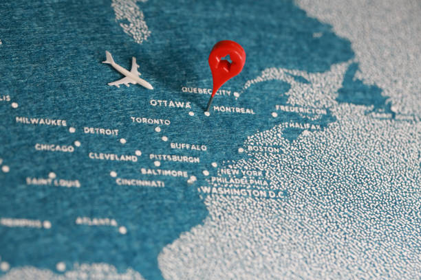 travel felt painted map in north america - canada travel stock photos and pictures