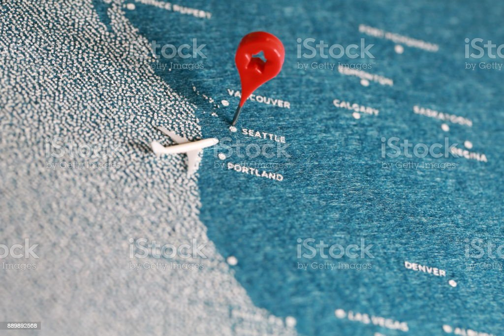 travel felt painted map in north america stock photo