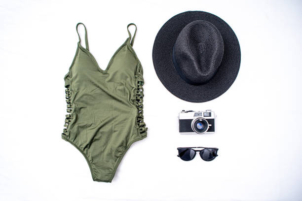 Travel Flat Lay For a Beach Vactaion stock photo