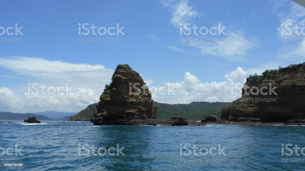 Travel from Puerto Lopez to Isla Salango Ecuador stock photo