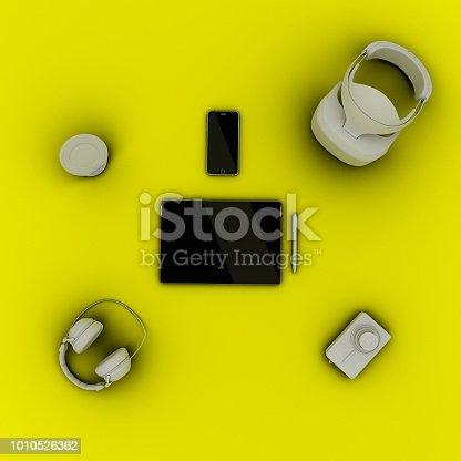 863497390 istock photo Travel gadgets flat lay travel concept 1010526362