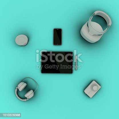 863497390 istock photo Travel gadgets flat lay travel concept 1010526368