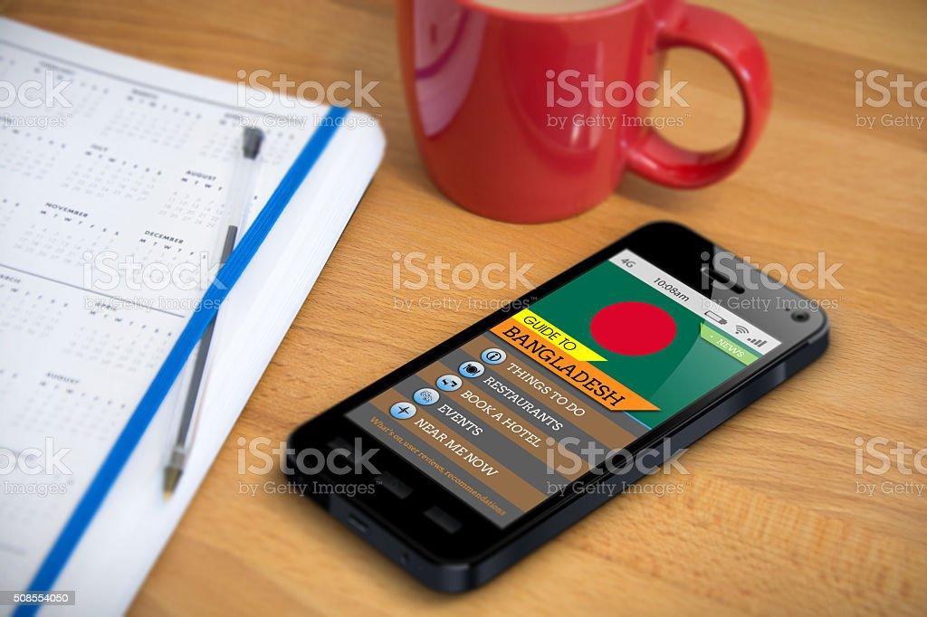Guía de viaje de Bangladesh de la aplicación del Teléfono inteligente - foto de stock