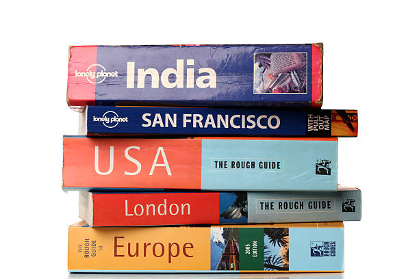 Travel guide books stock photo