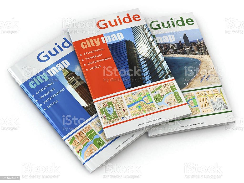 Travel guide books. stock photo