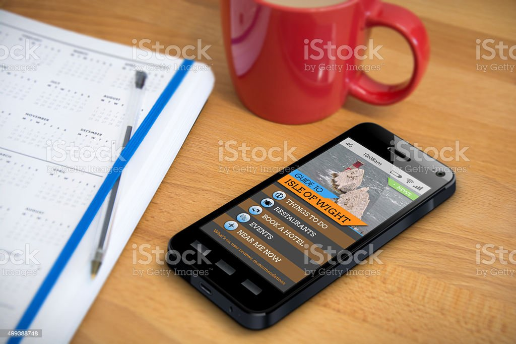 Travel Guide - Isle of Wight - Smartphone App stock photo