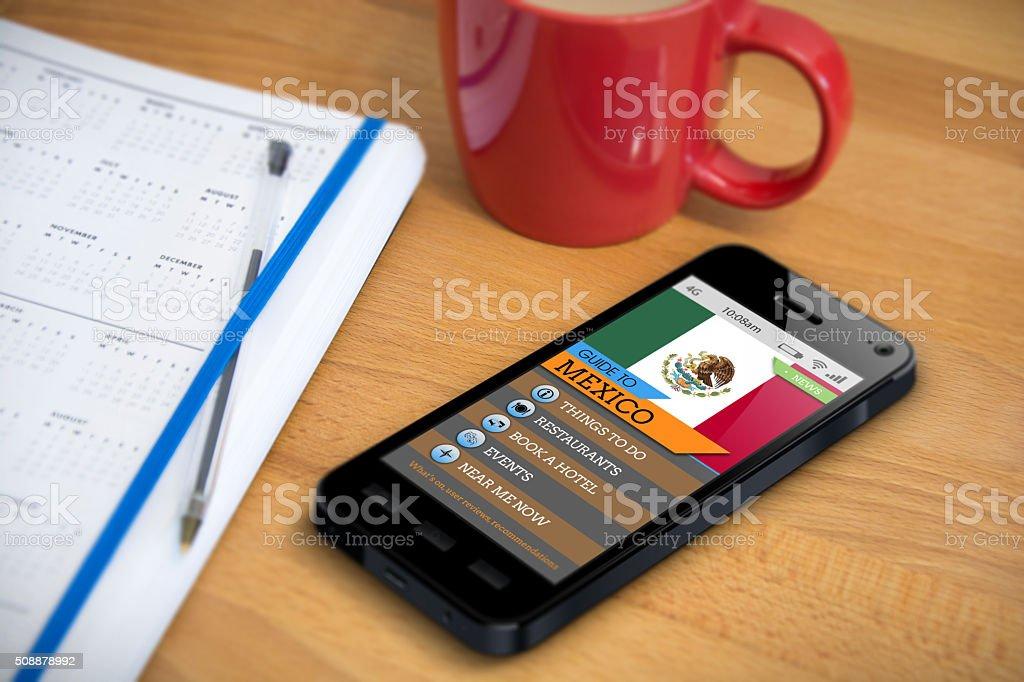 Travel Guide - Mexico - Smartphone App stock photo