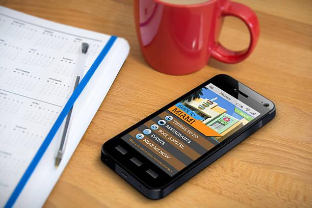 Travel Guide - Miami - Smartphone App stock photo