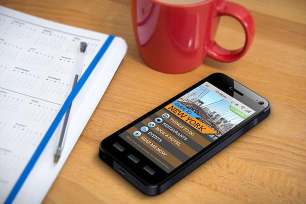 Travel Guide - New York - Smartphone App stock photo