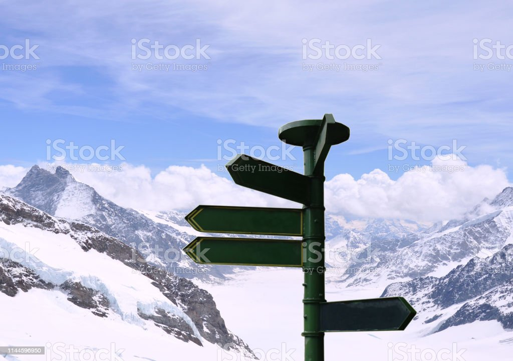 travel guide post on Jungfrau mountain in Switzerland background
