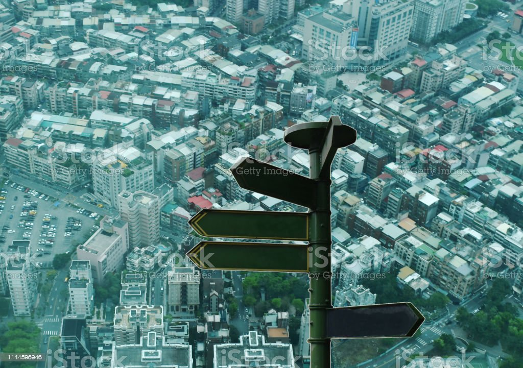 travel guide post on top view of Taipei cityscape in Taiwan