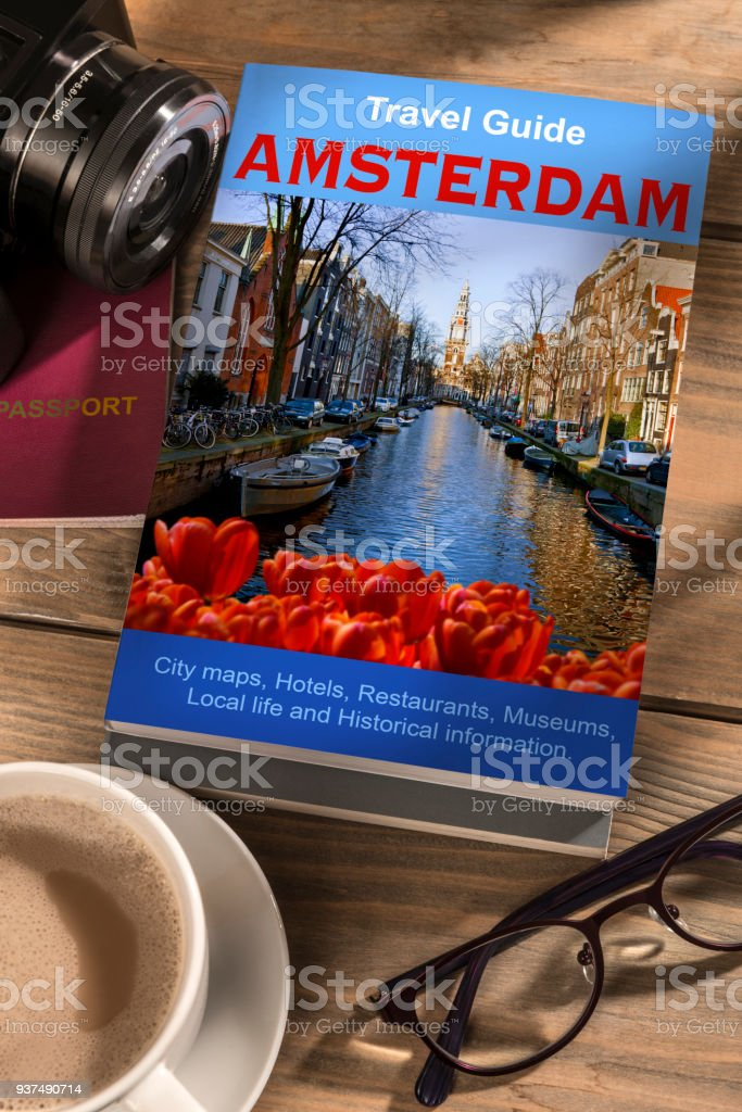 Travel Guide to Amsterdam stock photo