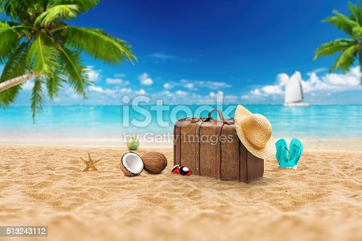 istock Travel holiday vacation suitcase with sunglasses.  Advertisement on travel suitcase 513243112