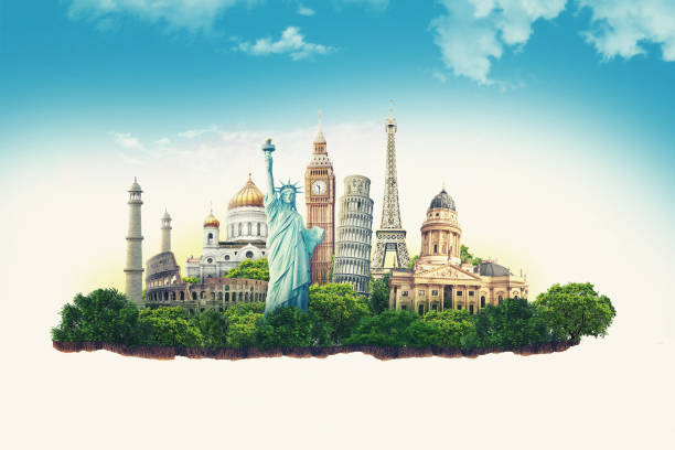 Travel illustration world's famous landmarks and tourist destinations elements in colorful background. 3d illustration. Isolated soil slice. travel, tourism, trip, excursion, tour monument stock pictures, royalty-free photos & images