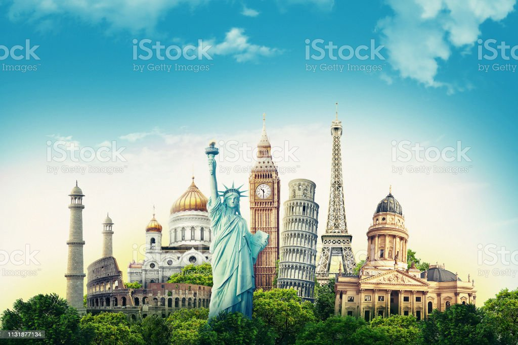 Travel illustration world's famous landmarks and tourist destinations elements in colorful background. 3d illustration. - Foto stock royalty-free di Affari