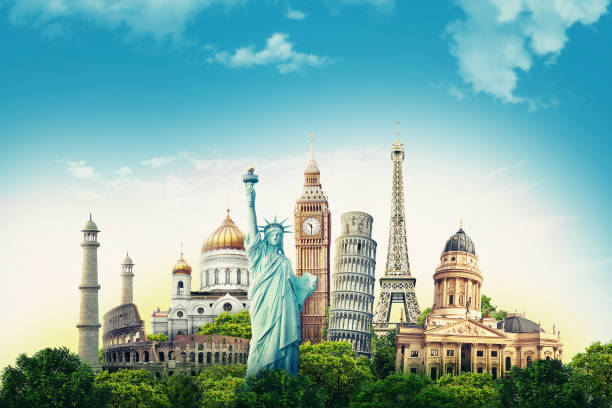 Travel illustration world's famous landmarks and tourist destinations elements in colorful background. 3d illustration. travel, tourism, trip, excursion, tour travel stock pictures, royalty-free photos & images