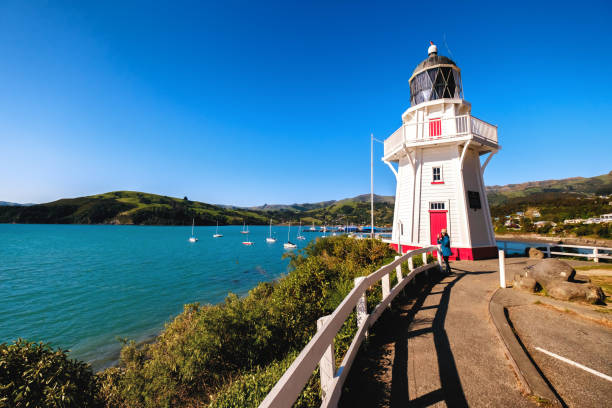 Travel image of Akaroa Lighthouse, New Zealand stock photo