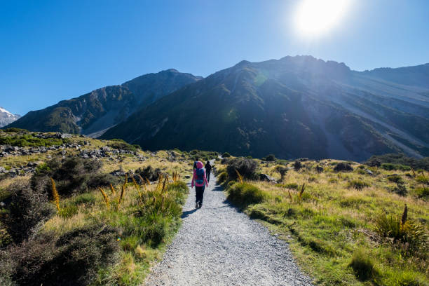 Travel image of tourists visiting Mount Cook, New Zealand stock photo