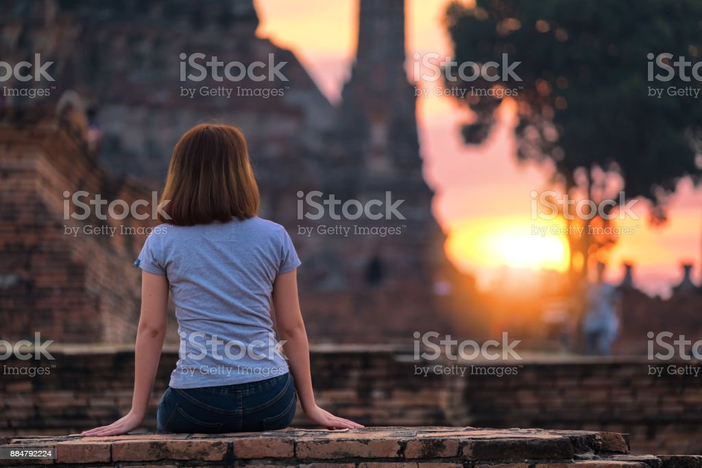 Travel in Ayutthaya stock photo