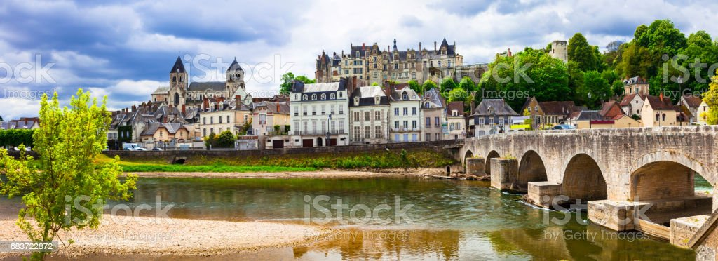 Travel in France- pictorial medieval town Saint-Aignan, in Loire valley region stock photo