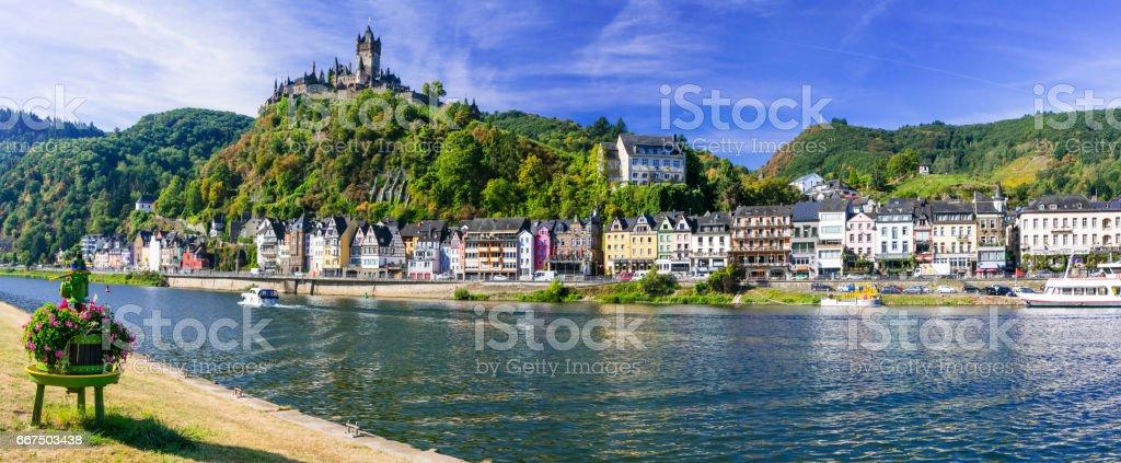 Travel in Germany - river cruises in Rhein river, medieval Cochem stock photo