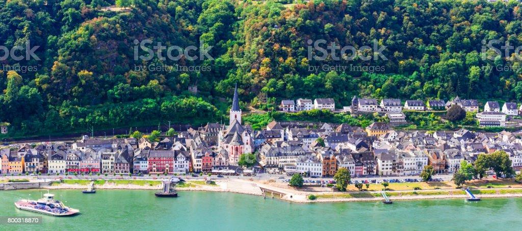 Travel in Germany - romantic cruises over Rhine river, Sankt Goar stock photo