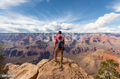istock Travel in Grand Canyon, man Hiker with backpack enjoying view 639133152