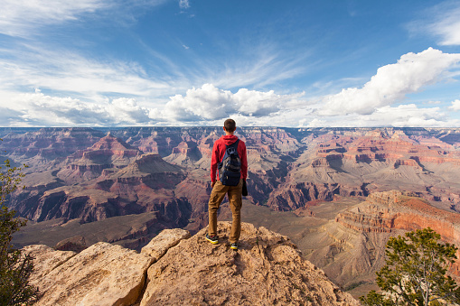 Travel in Grand Canyon, man Hiker with backpack enjoying view