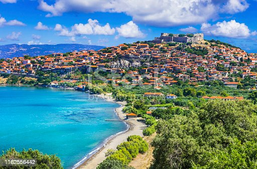 istock travel in Lesvos island - view of beautiful Molyvos (Molivos) town. Best of Greece 1162556442