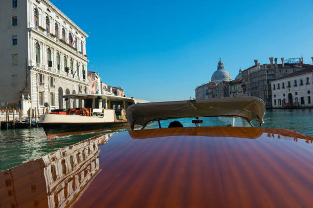 Travel in Taxi Boat on Grand Canal in Venice stock photo