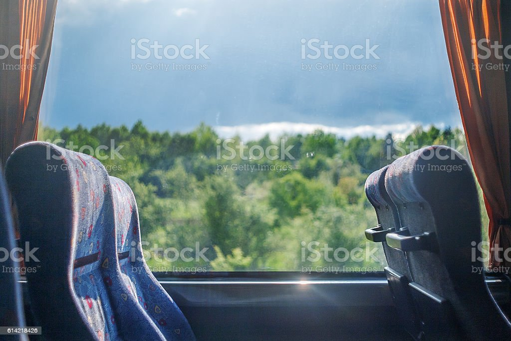 travel in the old bus with empty seats stock photo