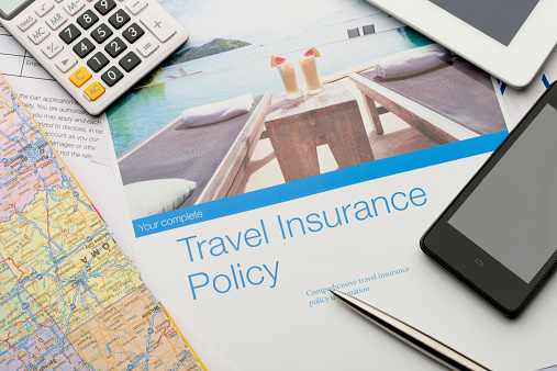Travel insurance brochures and magazines.