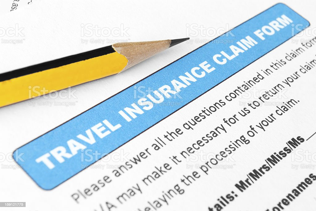 Travel insurance claim form royalty-free stock photo