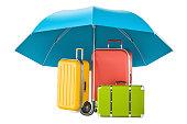 istock Travel insurance concept, suitcases under umbrella. 3D rendering 697722914