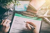 istock Travel insurance safe background. 881846260