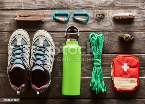 istock Travel items for hiking flat lay 956835462
